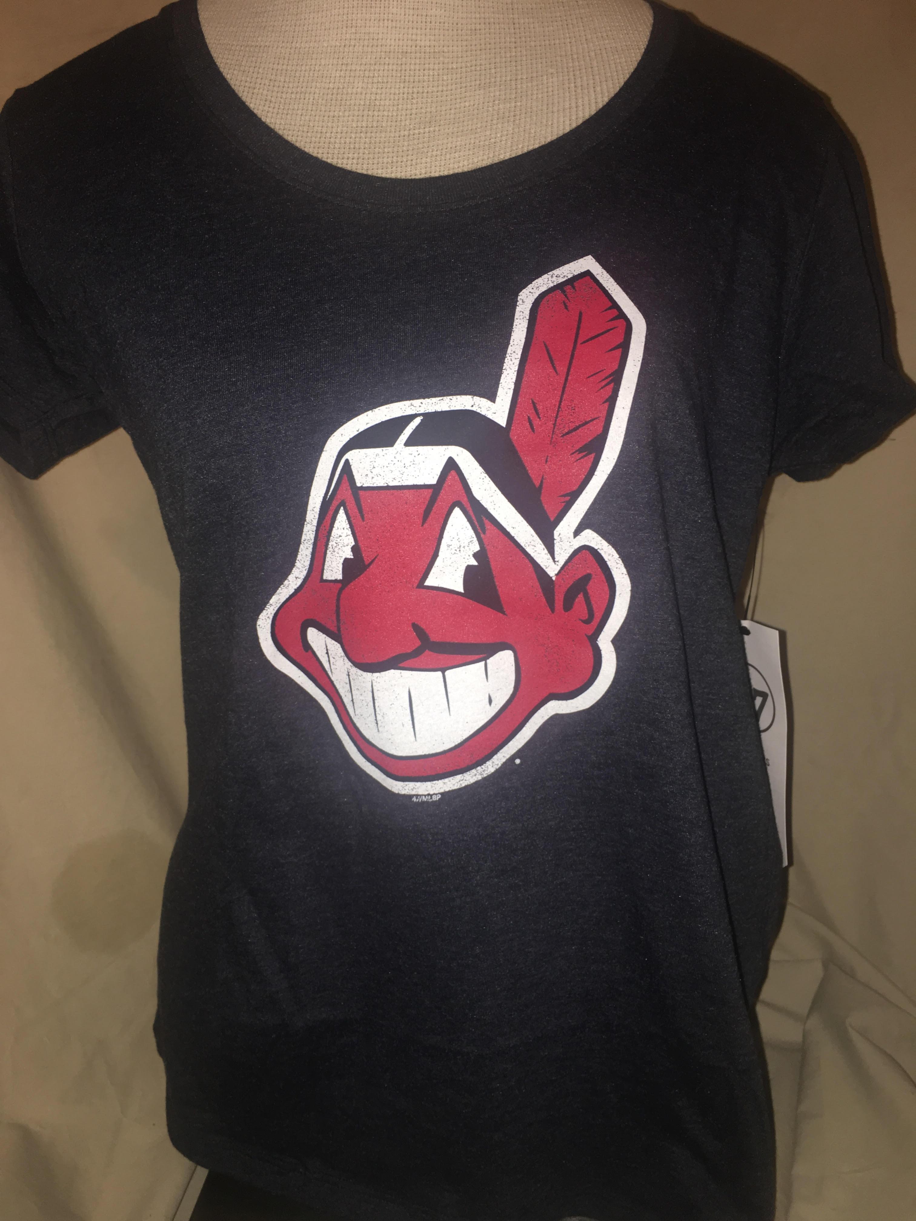 Women s Cleveland Indians Wahoo Navy T-Shirt  47 Brand  fd815b58f8